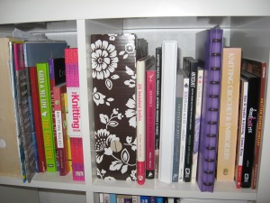 These are a few of the books.  Thankfully I haven't got a photo of all my photocopies and Ravelry queue